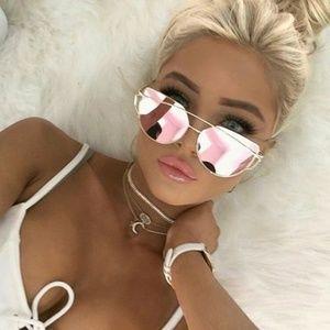 Rose Gold Mirror Cat Eye Sunglasses